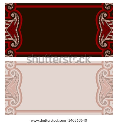 Greeting card with oriental floral pattern and space for text. Vector background in red and black colors.