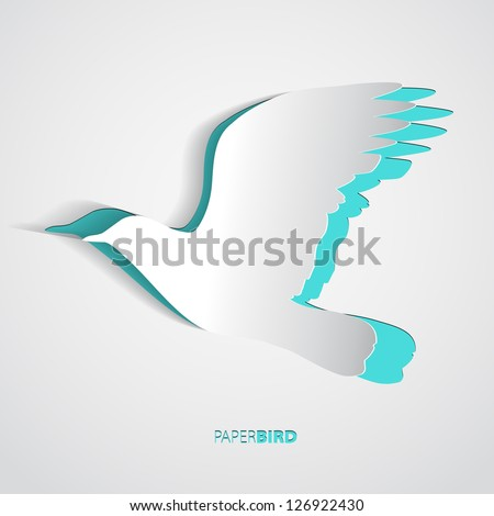 Greeting card with paper bird - vector - stock vector