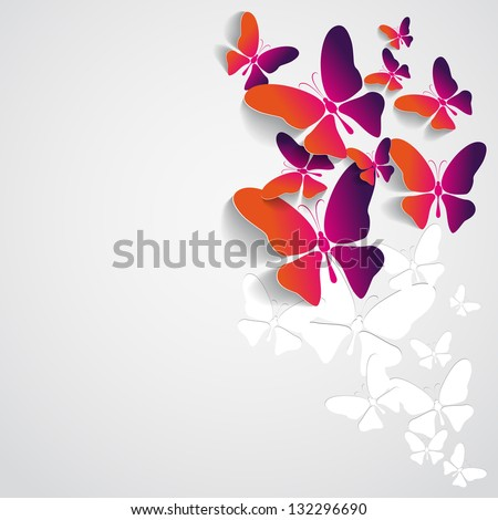Greeting card with paper butterflies - orange and purple color - vector - stock vector