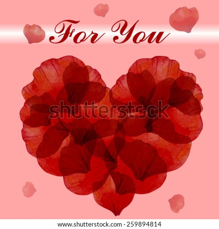 Greeting card with petals of poppy - stock vector