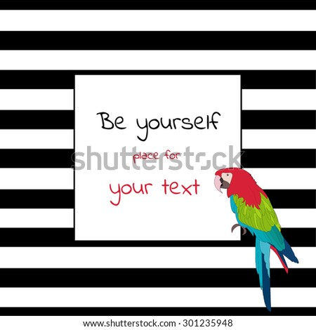 Greeting card with place for text with stripes and a parrot - stock vector