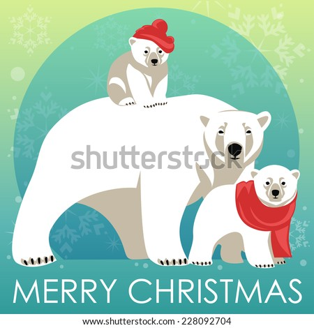 Greeting Card with Polar bear family. Mother bear walking with her cubs - stock vector