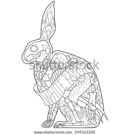 Greeting card with rabbits, skeletons with floral patterns. Colorful rabbits. Vector illustration - stock vector