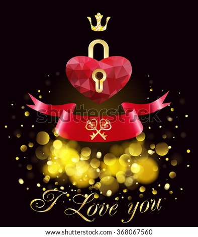 Greeting card with red heart.Happy Valentines Day. - stock vector