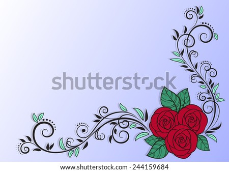 Greeting card with red roses and decorative floral elements. Vector Illustration - stock vector