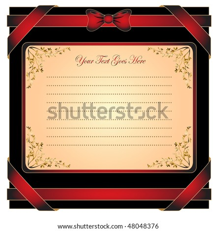 greeting card with ribbon for invitation or congratulation - stock vector