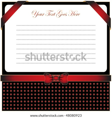 Greeting card with ribbon for invitation or congratulation. Golden vintage design. - stock vector