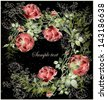Greeting card with rose. Illustration  roses. Beautiful decorative framework with flowers. - stock photo