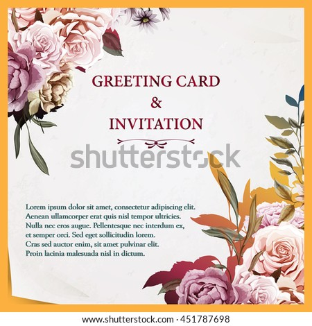 Greeting card with roses, carnation and peony. Watercolor, hand drawn. Vintage style. Can be used as invitation card for wedding, birthday and other types of holidays or feelings. Vector - stock.