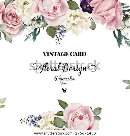 Greeting card roses watercolor can be stock vector royalty free greeting card with roses watercolor can be used as invitation card for wedding stopboris Image collections
