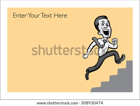 Greeting card with running businessman - personalize your card with a custom text - stock vector