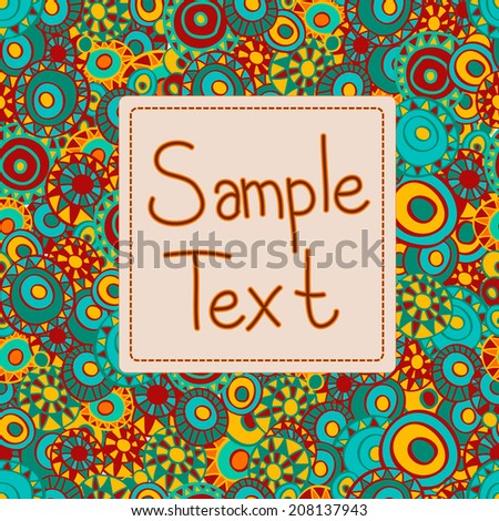 Greeting card with sample text on a seamless background with hand drawn circles, clipping mask is used, vector illustration