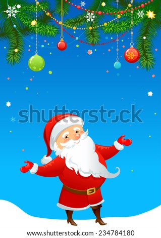 Greeting card with Santa Claus. Holiday background and copy space. - stock vector