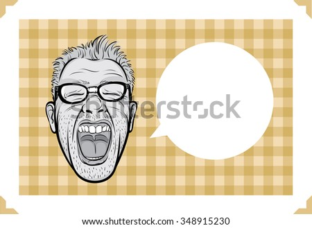 Greeting card with screaming man face - just add your text - stock vector