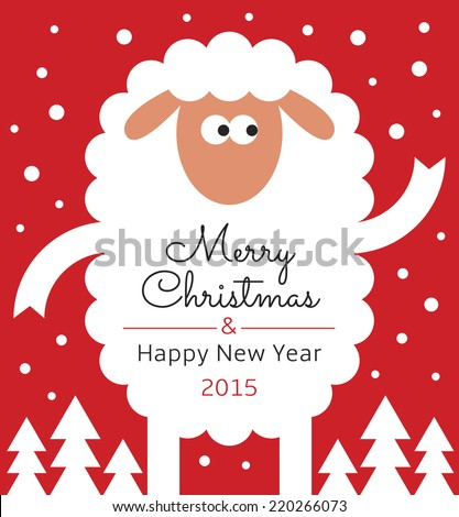Greeting card sheep text merry christmas stock vector royalty free greeting card with sheep text merry christmas and happy new year 2015 m4hsunfo