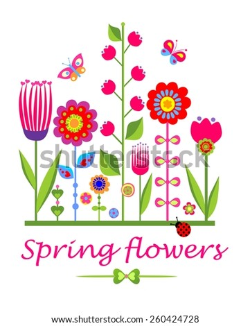 Greeting card with spring funny flowers - stock vector