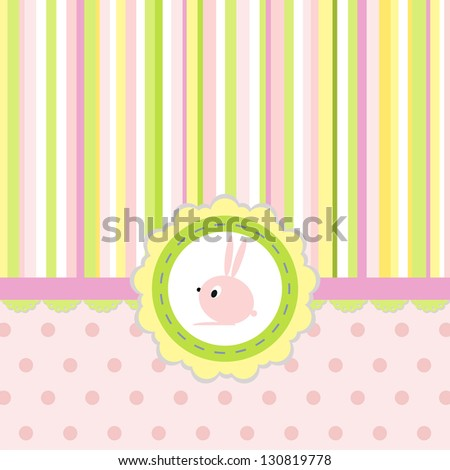 Greeting card with stripes, dots and rabbit
