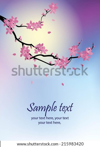 greeting card with stylized cherry blossom and text