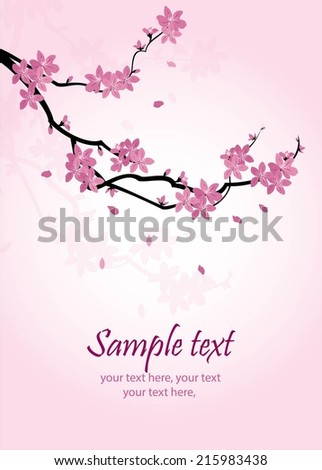 greeting card with stylized cherry blossom and text - stock vector