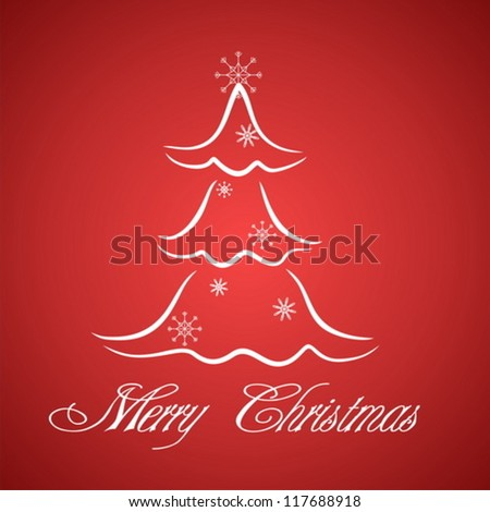 Greeting card with stylized Christmas tree
