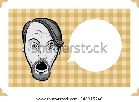 Greeting card with surprised bearded man - just add your text - stock vector
