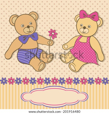 Greeting card with teddy bears. Dotted beige background with cute toys. Colorful vector illustration. - stock vector