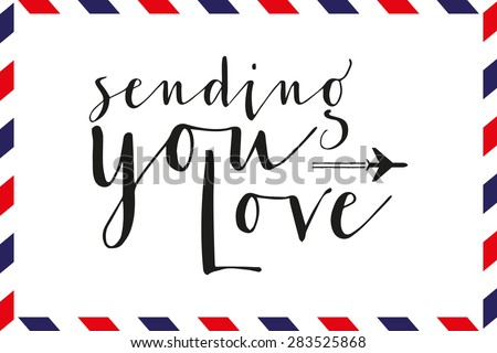 Greeting card with text and pattern in airmail style. Vector and illustration design. - stock vector