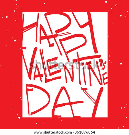 greeting card with text valentines day, red on white background , snow . red background