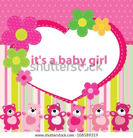 Greeting card birth baby girl stock vector 2018 108589319 greeting card with the birth of a baby girl m4hsunfo Choice Image
