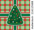Greeting card with the Christmas tree on the plaid fabric - stock vector
