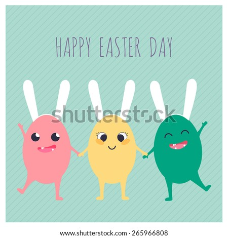 Greeting card with three colorful Easter rabbits. Funny bunny. Easter Bunny. - stock vector
