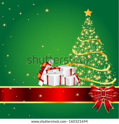 Greeting card with tree of snowflakes and Christmas copy space, vector