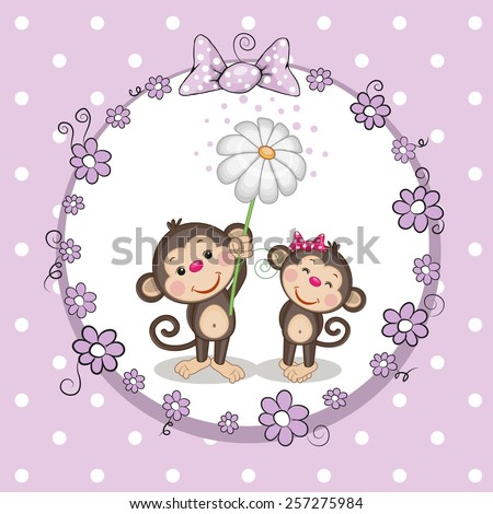 Greeting card with two Monkeys in a frame  - stock vector
