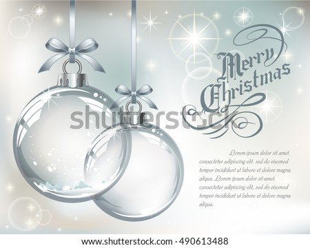 Greeting card with vector realistic transparent silver Christmas balls with snow on a light abstract background