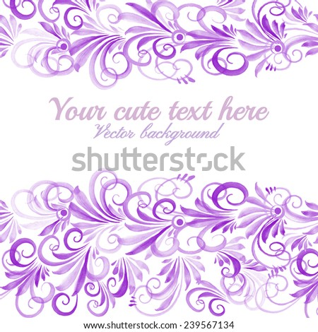greeting card with watercolor floral ornament - stock vector