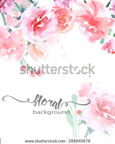 Greeting card with watercolor roses, can be used as invitation card for wedding, birthday and other holiday and summer background. Vector illustration.