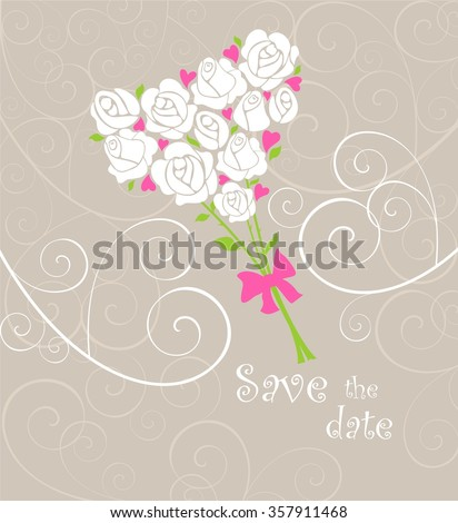Greeting card with wedding bouquet - stock vector