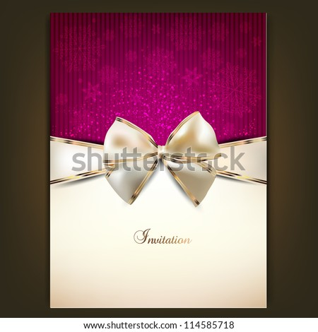 Greeting card with white bow and copy space. Vector illustration - stock vector