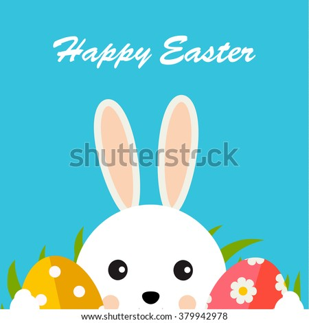 Greeting card with with white Easter rabbit, green grass and easter eggs. Funny bunny. Easter Bunny - stock vector