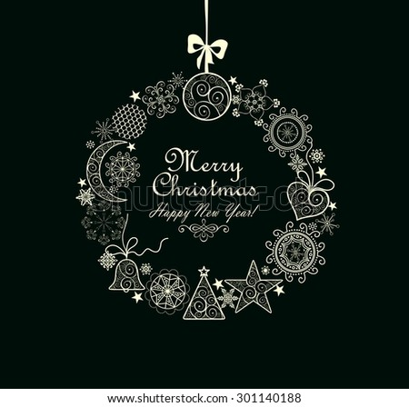 Greeting card with Xmas wreath - stock vector
