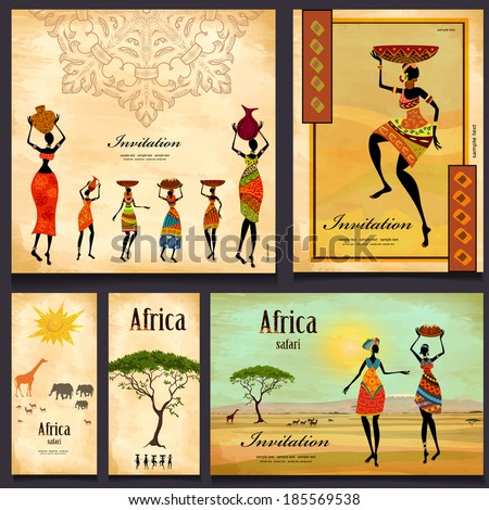 Greeting cards. beautiful woman africa - stock vector