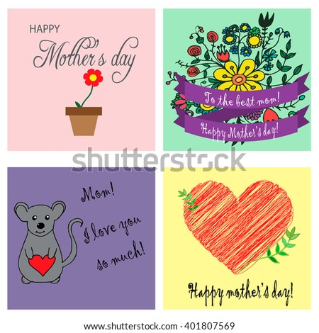 Greeting cards mothers day stock photo photo vector illustration greeting cards for mothers m4hsunfo