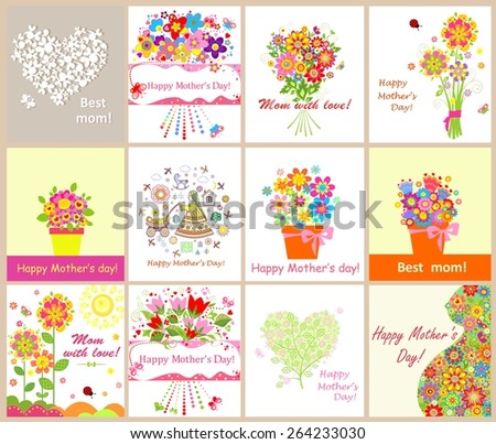 Greeting cards for mothers day  - stock vector