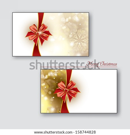 Greeting cards / Gift cards with red bows. Christmas Background. Eps10. - stock vector