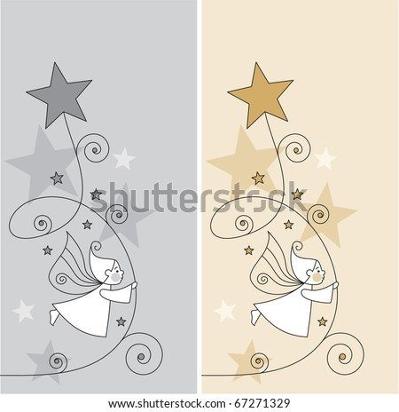 greeting cards with elves and stars