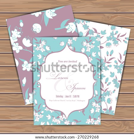 Greeting cards with floral elements on wood plank background. Place for your text. Use for invitations, announcement cards. Seamless pattern masked. Vector illustration. - stock vector