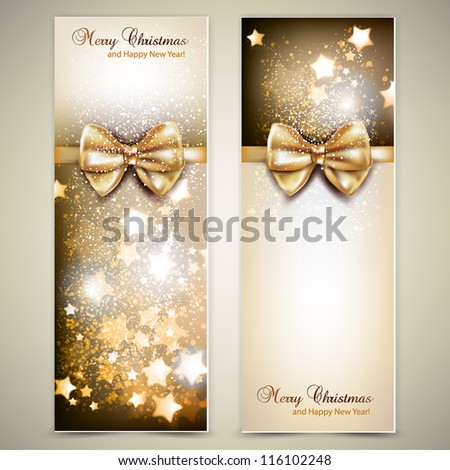 Greeting cards with golden bows and copy space. Vector illustration