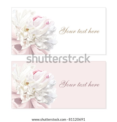 Greeting cards with luxurious flower cards painted in pastel colors - stock vector