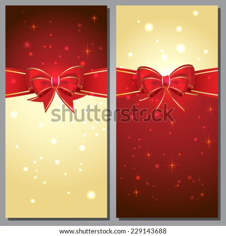 Greeting cards with white bows and copy space - stock vector