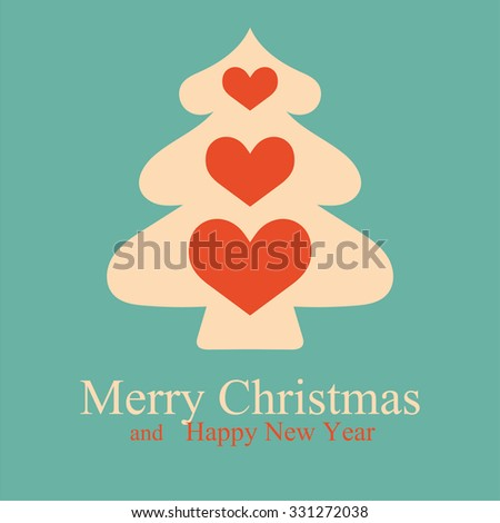 Greeting Christmas and New Year card with Christmas tree. Vector Illustration. - stock vector